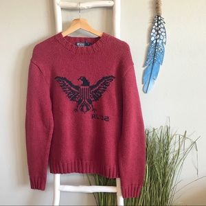 Polo by Ralph Lauren | Red Hand Knit Eagle Sweater